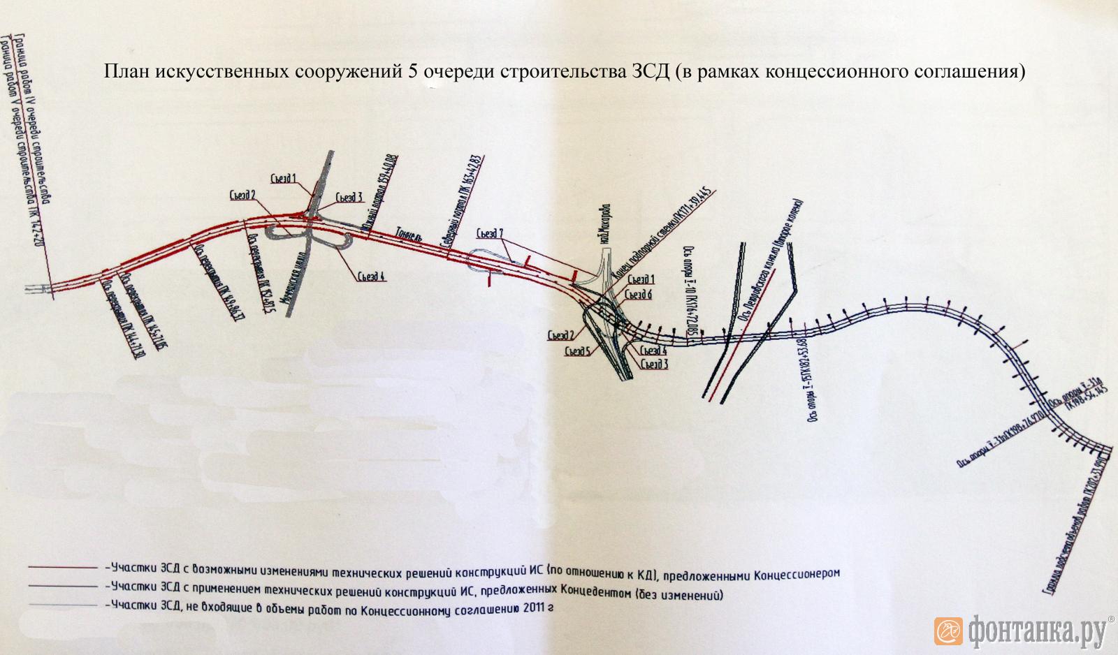 План искусственных сооружений 5-й очереди строительства ЗСД