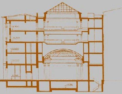 """Здание со встроенным вестибюлем """"Адмиралтейской"""". Продольный разрез. Опубликован блогером Бегемотом на интернет-форуме, посвященном развитию Петербурга."""