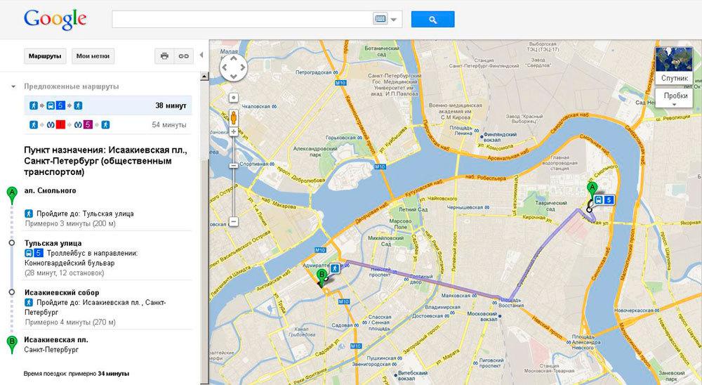 маршрут Смольный - Исаакиевская площадь на сервисе Google Maps