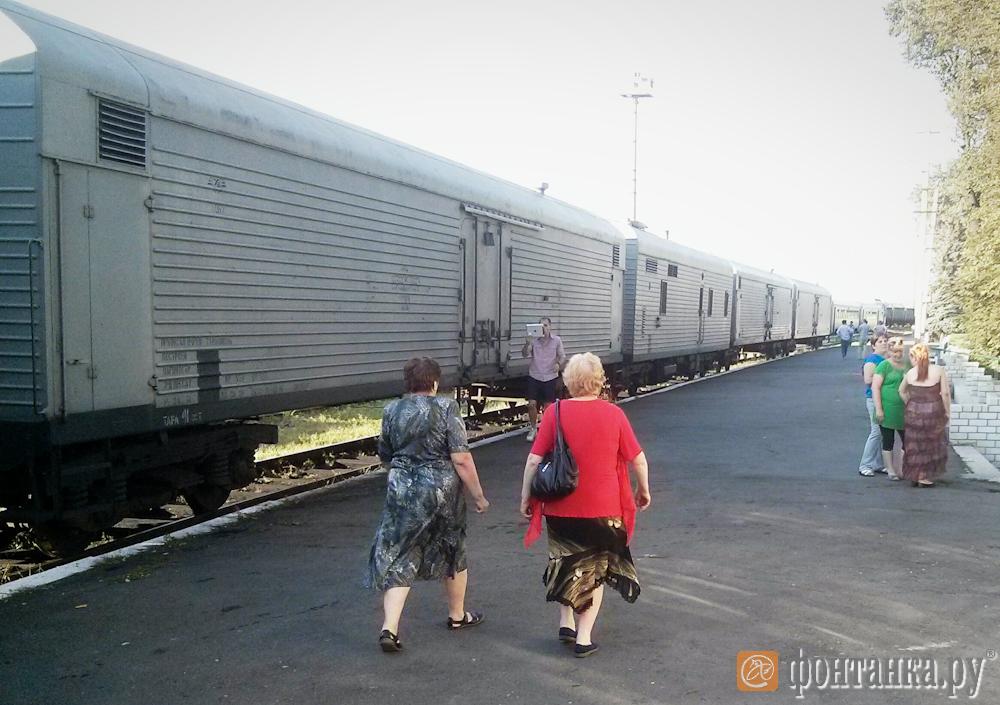 Железнодорожный состав с телами погибших при крушении самолета под Донецком
