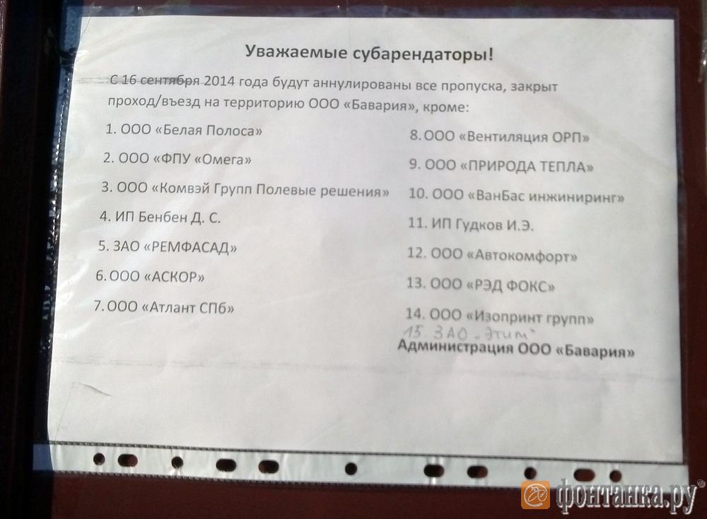 Список арендаторов
