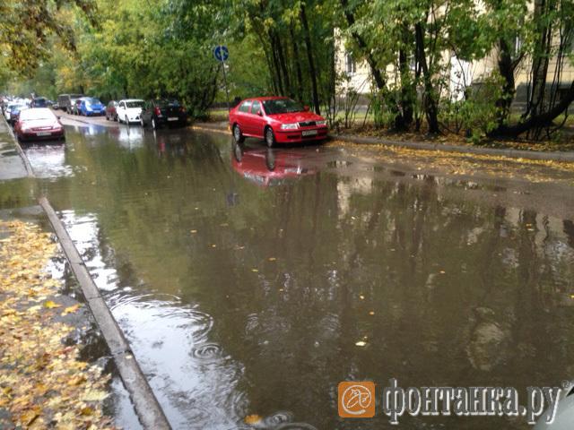 А вот такие лужи увидели утром жители улицы Гданьской (Выборгский район)