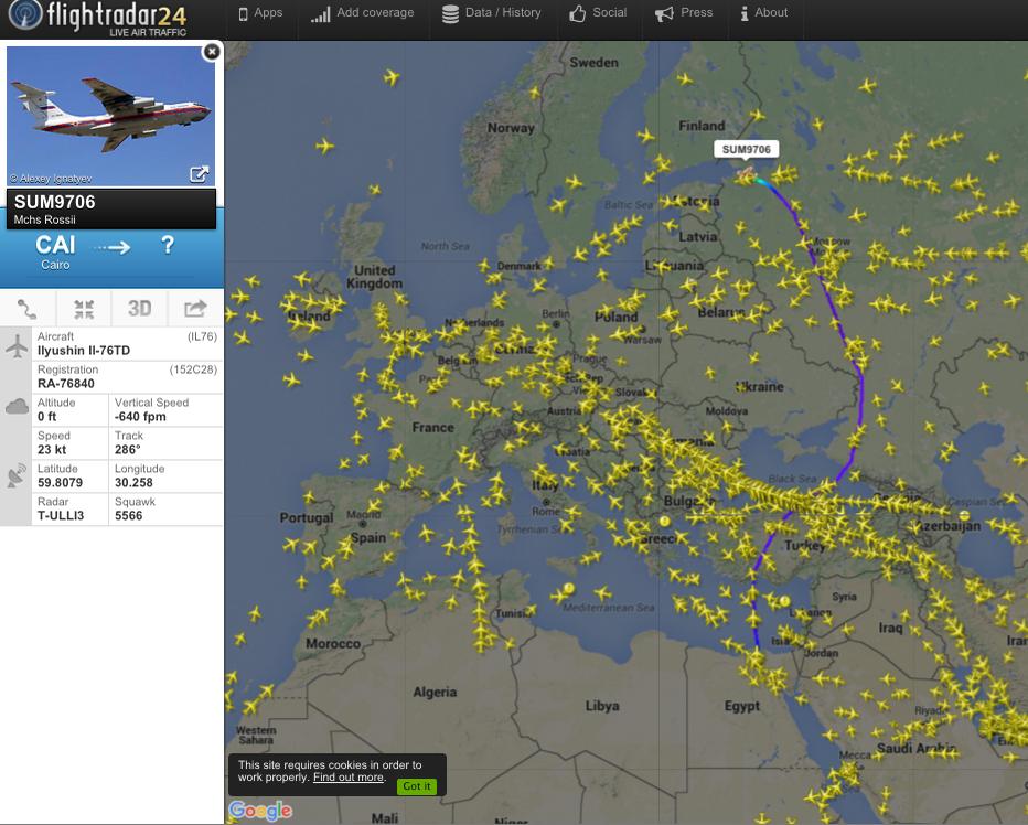 Тела 144 пассажиров рейса 9268 доставлены в Петербург (Иллюстрация 1 из 2) (Фото: скриншот сайта flightradar24.com)