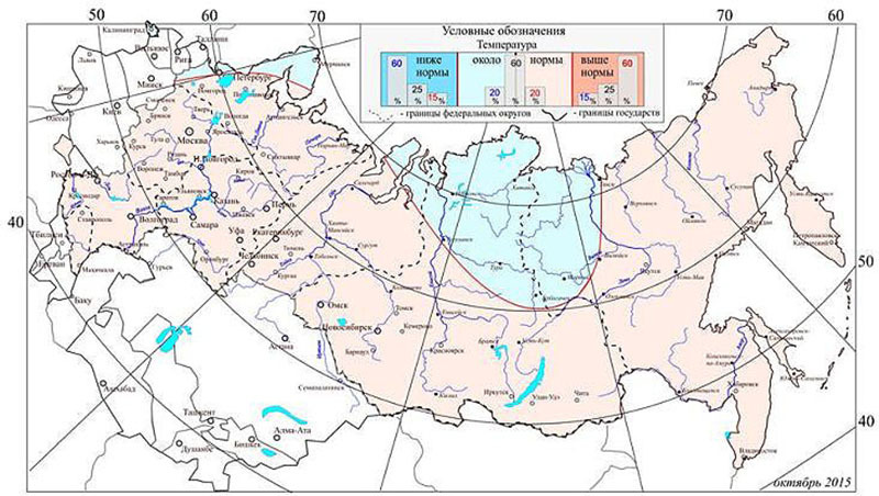 Средняя месячная температура октября на территории России