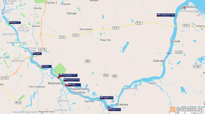 Расположение застрявших в Неве судов на 17 часов 17 ноября