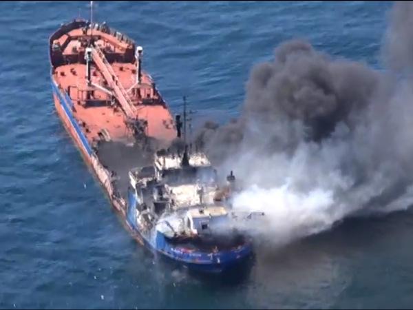 Обреченный российский танкер на Каспии потушили
