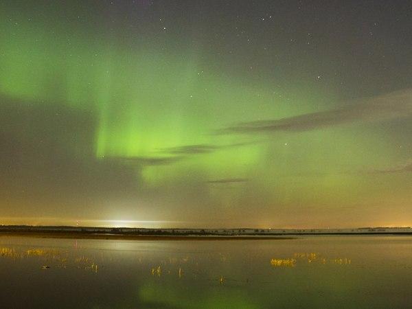 Минувшей ночью петербуржцы наблюдали северное сияние