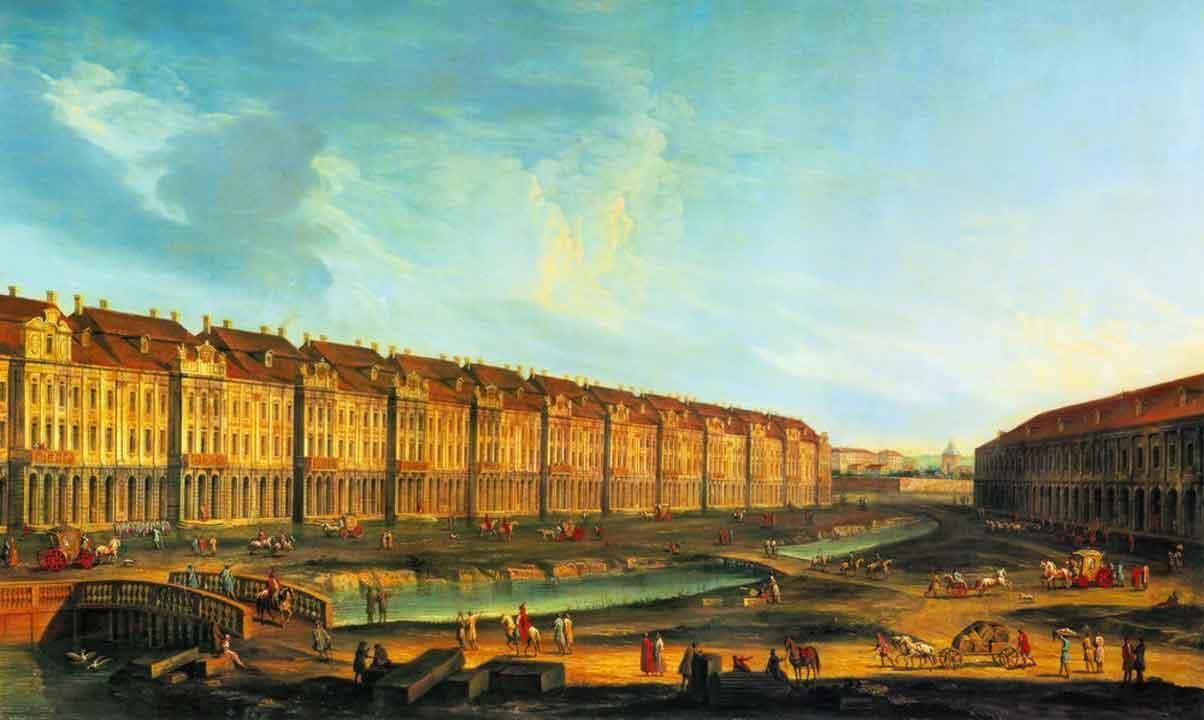 Двенадцати коллегий здание в Санкт-Петербурге. Арх. Д.А. Трезини. 1722—1742. Неизвестный художник. Акварель. Третья четв. XVIII в.