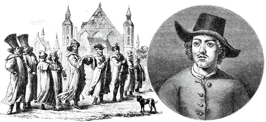 Великое посольство по гравюре современника. Портрет Петра I в одежде голландского матроса.