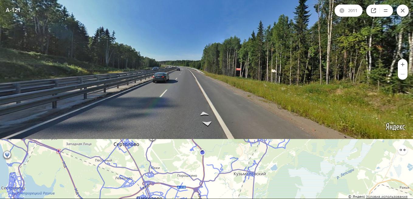 «Сортавала» между поворотом на Корабсельки (1-й километр) и на Скотное (9-й километр). Скриншот «Яндекс.Карты»