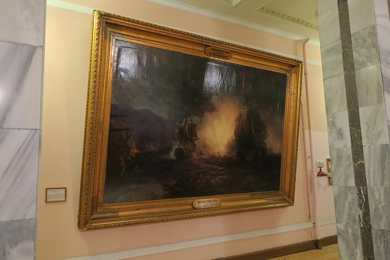 """И. К. Айвазовский, картина """"Чесменский бой"""", подаренная Морскому корпусу автором"""