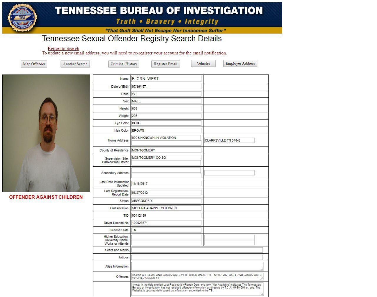 скриншот страницы сайта The Tennessee Bureau of Investigation