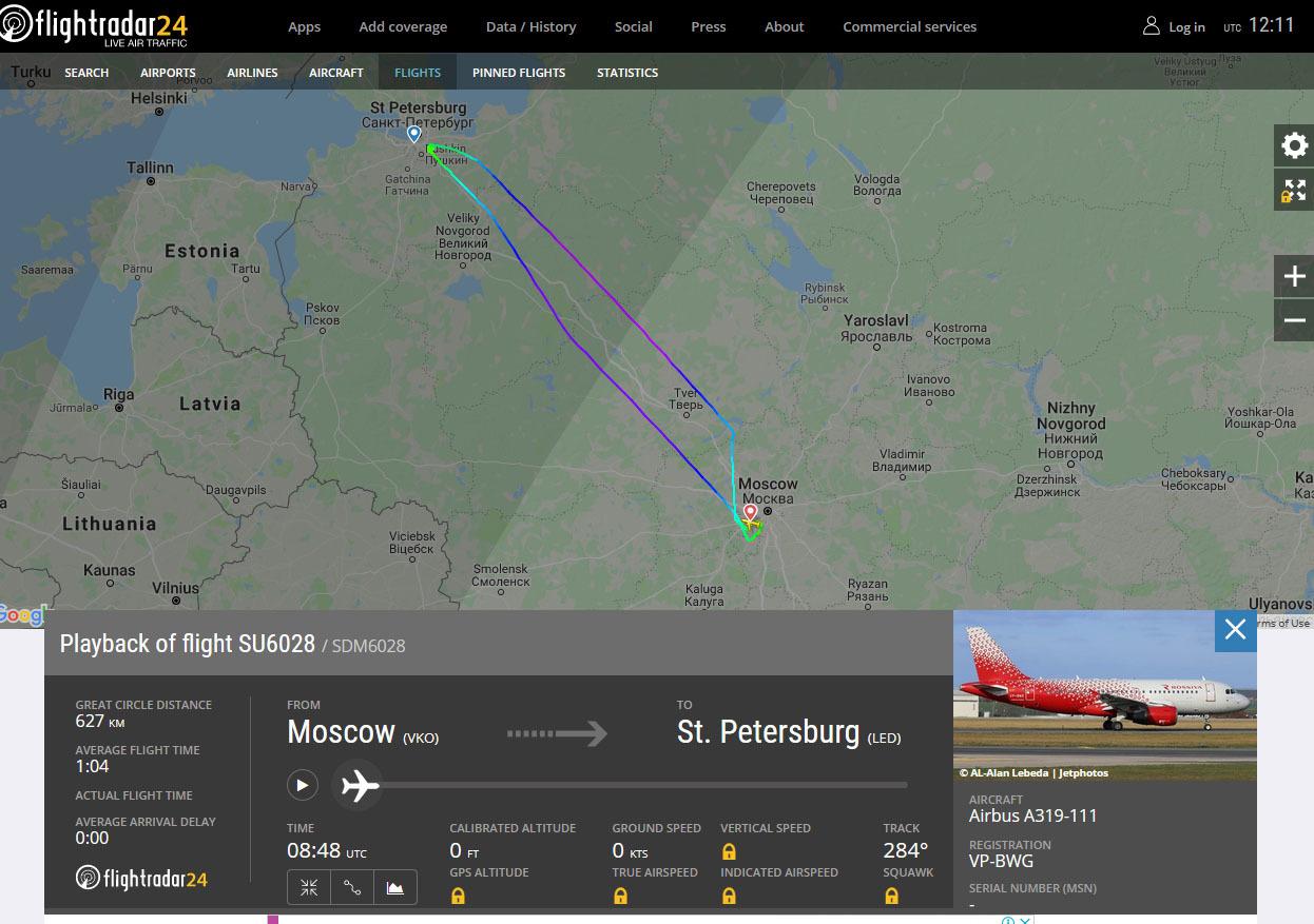 скриншот страницы сервиса flightradar24.com