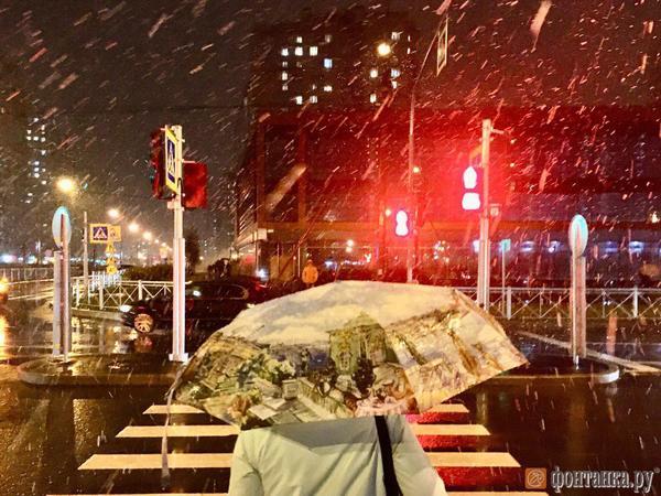 Снег опередил прогноз синоптиков и зашёл в Петербург с севера