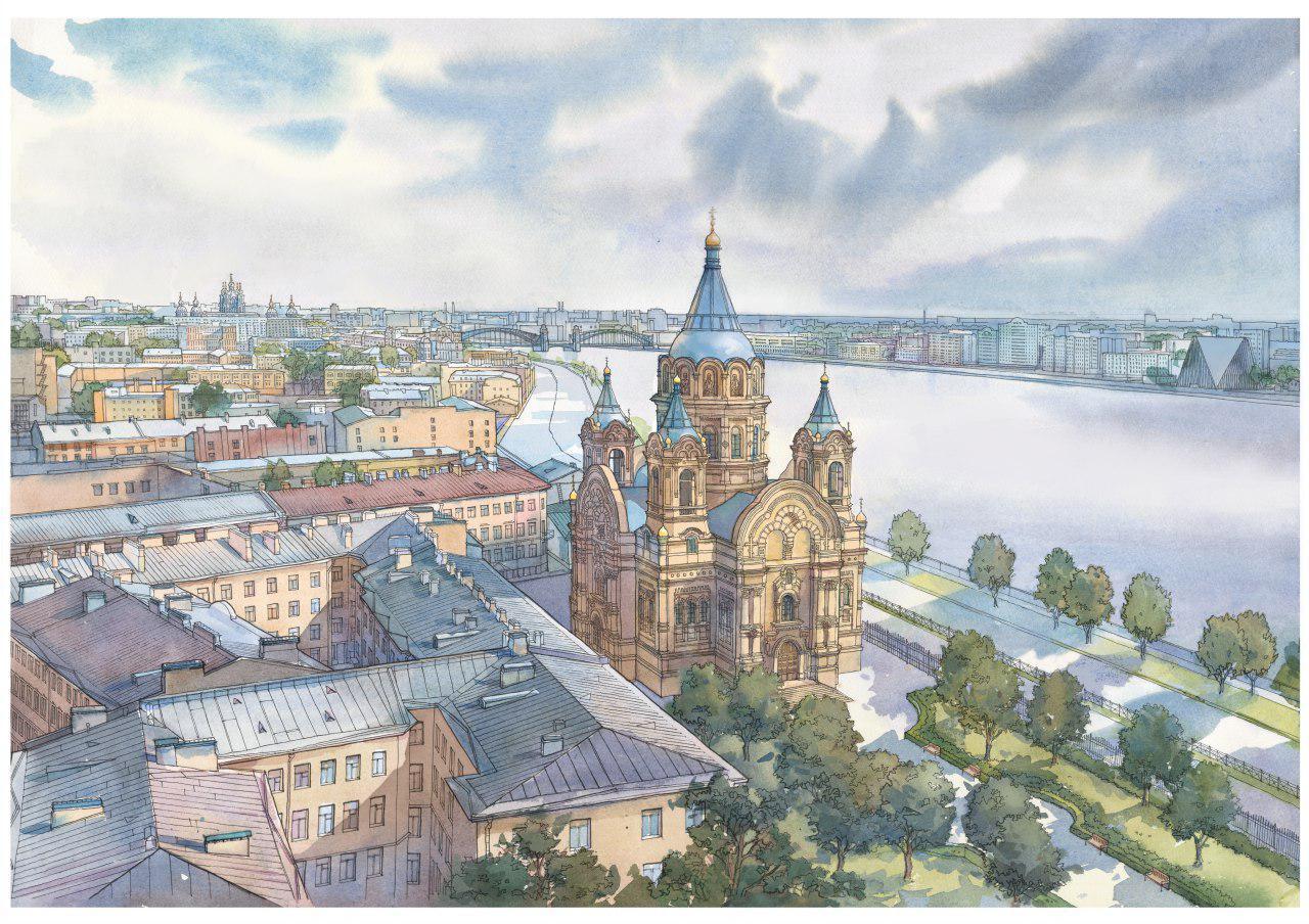 эскиз Борисоглебской церкви, снесенной в 1975 году