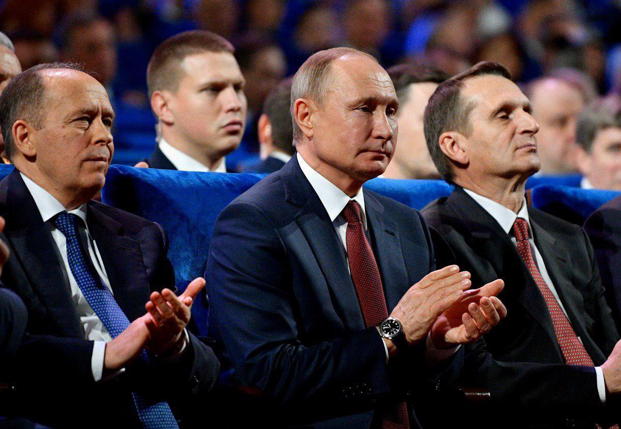 Александр Бортников, Владимир Путин, Сергей Нарышкин на вечере в честь Дня работника органов безопасности