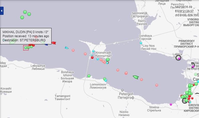 скриншот страницы сервиса marinetraffic.com