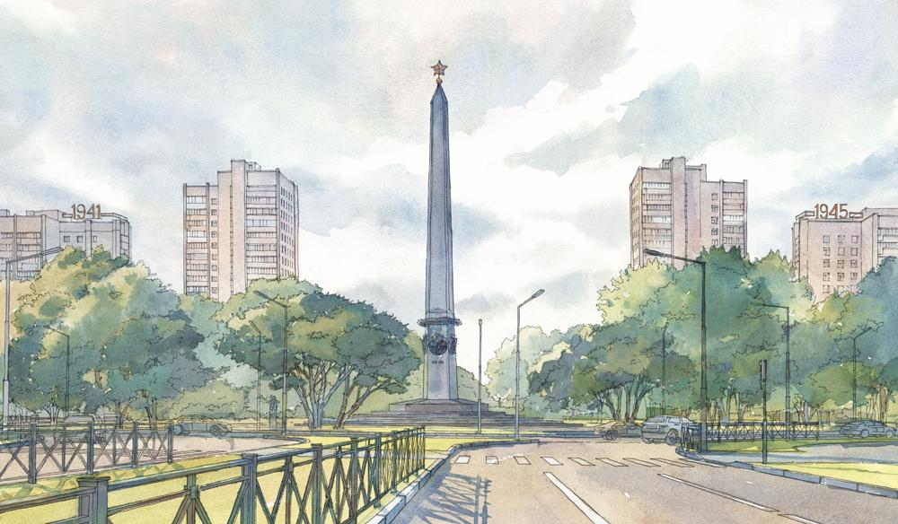 Эскиз стелы на площади Мужества/автор - Фонд содействия строительству культовых сооружений РПЦ в Петербурге