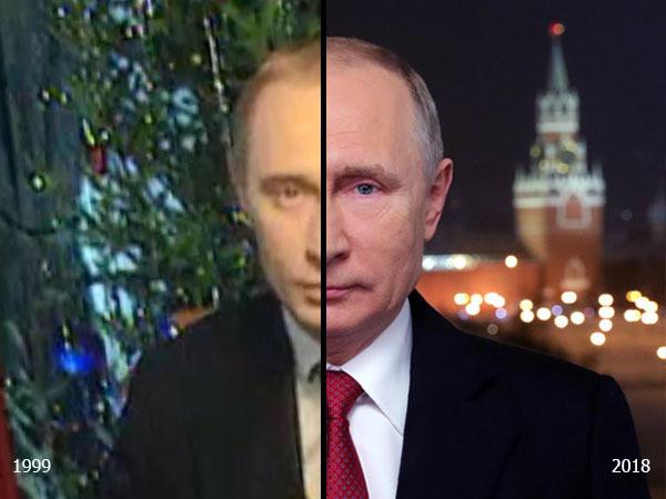 20 лет назад подполковник ФСБ Владимир Путин впервые поздравил нас с наступающим. Ретроспектива образов