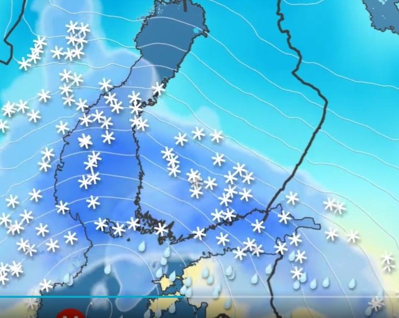 На Финляндию движется очередная метель. Петербург тоже заденет (Иллюстрация 1 из 1) (Фото: скриншот с YLE)