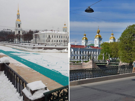 Включите лето! Сравниваем улицы Петербурга в разные сезоны