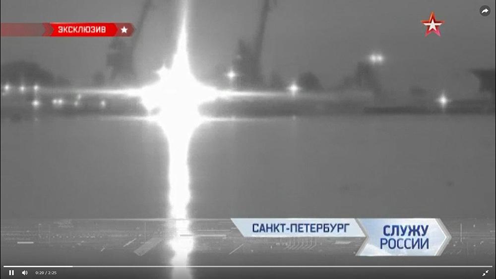"""Видео с испытаниями нового оружия в Финском заливе телеканал опубликовал 10 марта 2019 года//кадр из видео телеканала """"Звезда"""""""