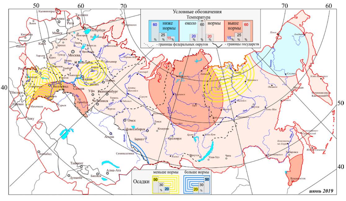 Карта прогнозов на июнь. Скриншот с сайта meteoinfo.ru