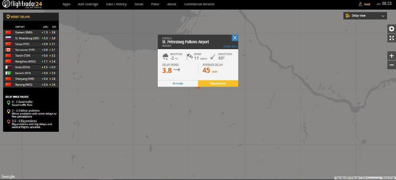 Пулково вышел в мировые лидеры по задержкам. Ни один самолет не отправляется по расписанию (Иллюстрация 1 из 1) (Фото: скриншот с сайта flightradar)