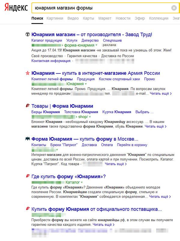 скриншот поискового запроса