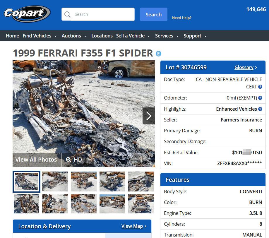 Принтскрин с сайта аукциона copart.com