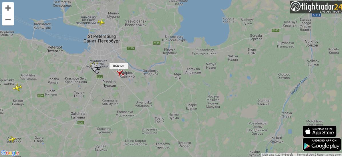 Скриншот с flightradars24.ru