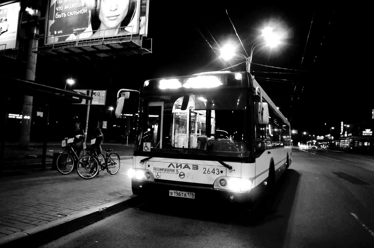 Ночные автобусы в праздничные выходные будут развозить пассажиров 4 ночи подряд (Иллюстрация 1 из 1) (Фото: СПб ГУП «Пассажиравтотранс» / vk.com/vmeste_s_pat)