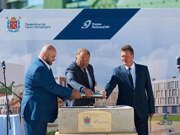 На месте строительства школы в ЖК «Московские ворота» при участии Правительства Санкт-Петербурга заложили капсулу времени