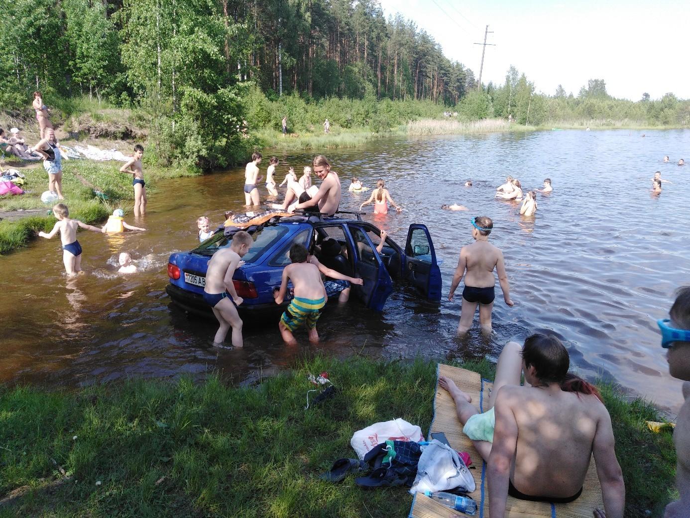 Адское пекло: петербуржцы купаются с мёртвыми рыбами и затонувшими автомобилями  (Иллюстрация 1 из 2) (Фото: https://vk.com/spb_today)