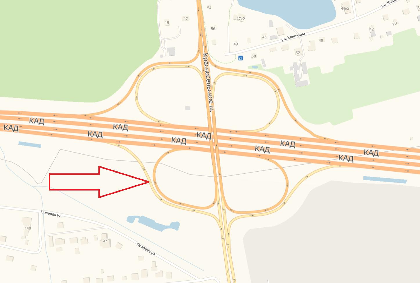 Съезд с КАД на Красносельское шоссе в сторону Песков закроют на пять дней (Иллюстрация 1 из 1) (Фото: ФКУ Упрдор «Северо-Запад»)