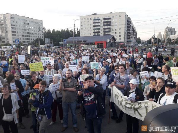 В Муринском парке прошел митинг против стройки «Нова Арены». На него пришел даже «Пушкин»
