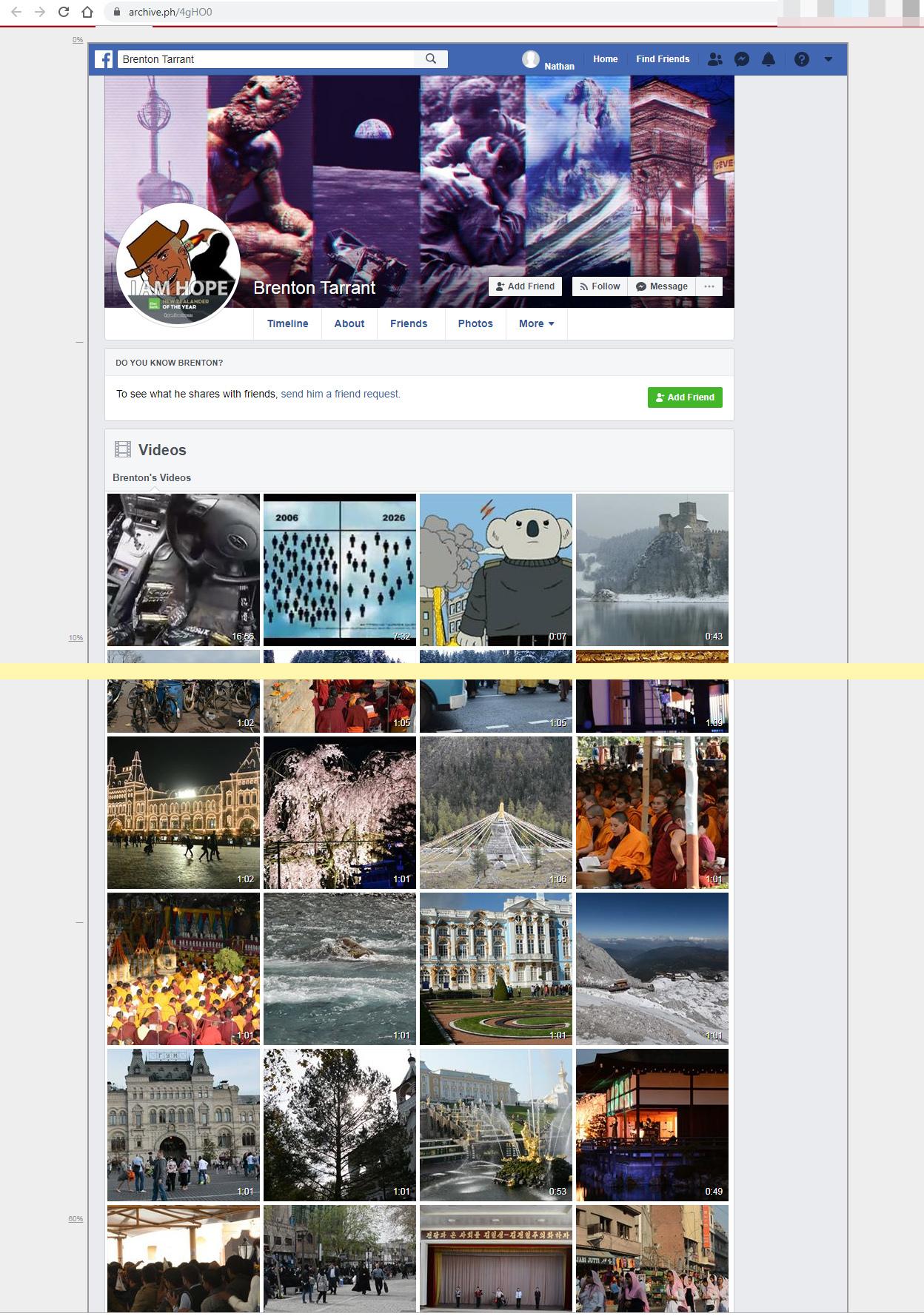 скриншот страницы архива соцсетей