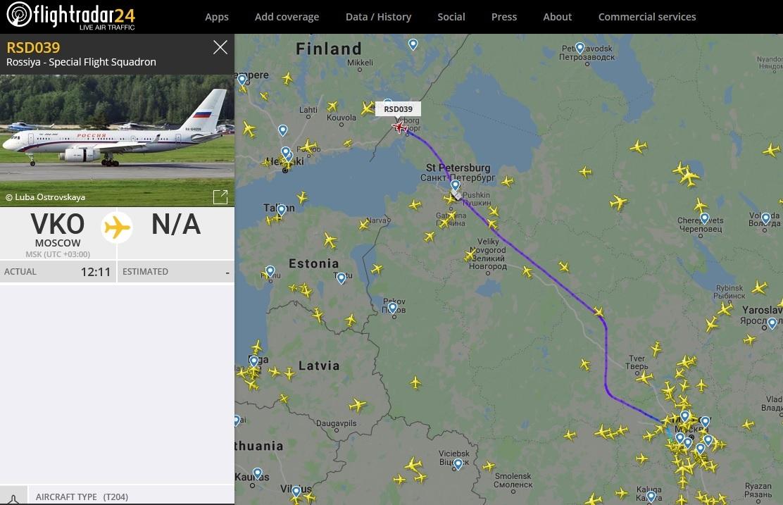 Путин пролетел над Петербургом и приближается к Хельсинки (Иллюстрация 1 из 1) (Фото: Flightradar24.com (скриншот))