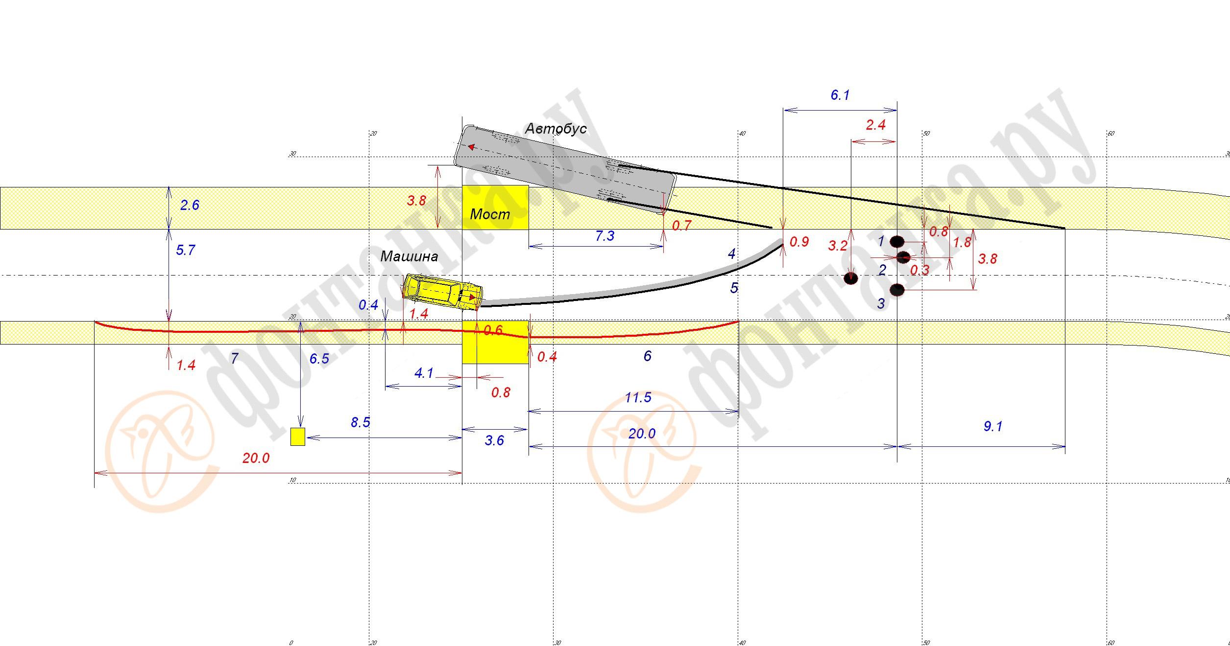 Схема ДТП, красным обозначены размеры, которые из-за плохого качества фотокопии вызывают сомнения