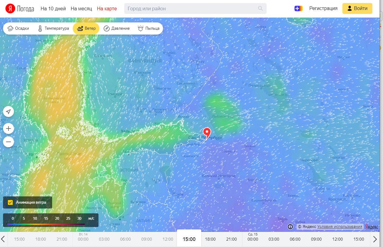 Направление и сила ветра. Скриншот «Яндекс.Погоды»